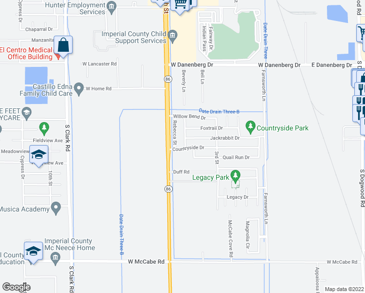 map of restaurants, bars, coffee shops, grocery stores, and more near 372 Countryside Drive in El Centro