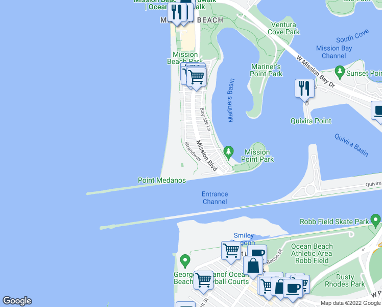 map of restaurants, bars, coffee shops, grocery stores, and more near 2687 Ocean Front Walk in San Diego