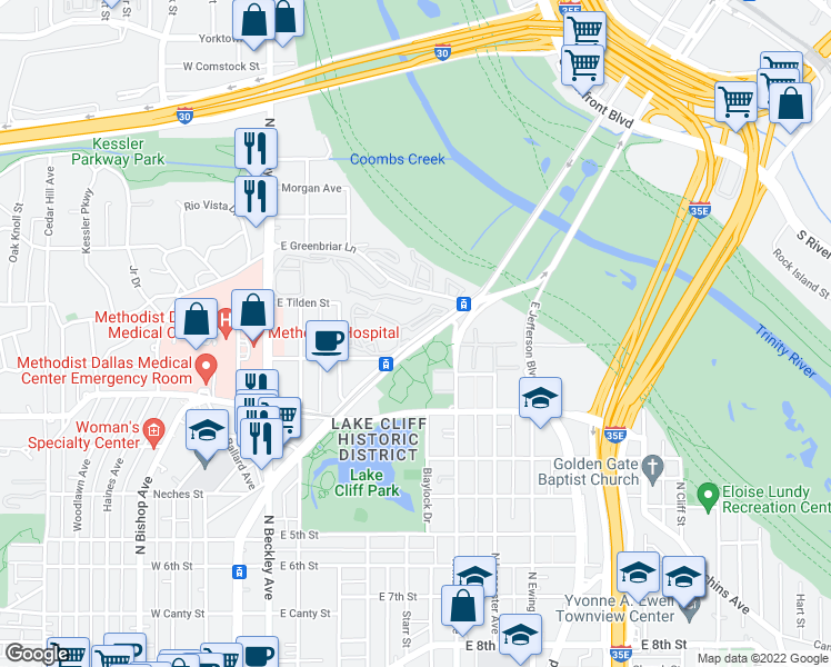 map of restaurants, bars, coffee shops, grocery stores, and more near 1409 North Zang Boulevard in Dallas