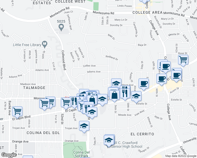 map of restaurants, bars, coffee shops, grocery stores, and more near 5412 Siesta Drive in San Diego