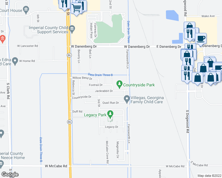map of restaurants, bars, coffee shops, grocery stores, and more near 202 Jackrabbit Drive in El Centro