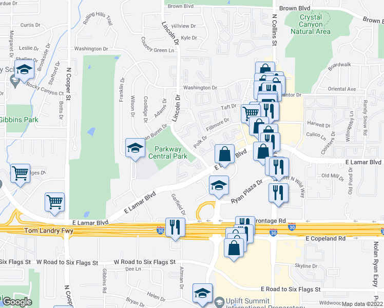 map of restaurants, bars, coffee shops, grocery stores, and more near 2011 Lincoln Drive in Arlington