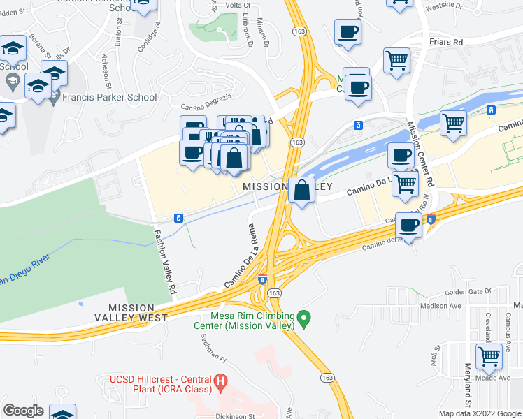 map of restaurants, bars, coffee shops, grocery stores, and more near 117 Camino De La Reina in San Diego