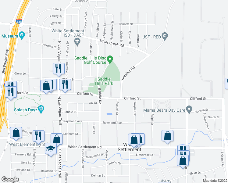 map of restaurants, bars, coffee shops, grocery stores, and more near 508 Ingram Street in White Settlement