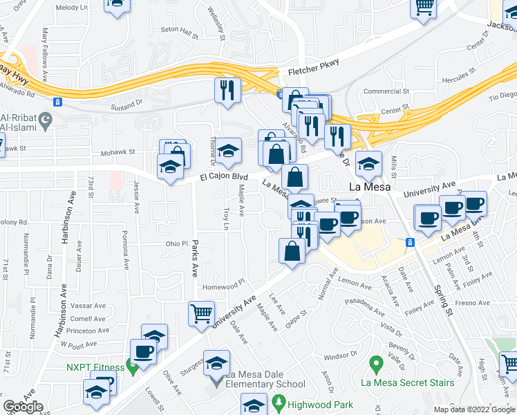 map of restaurants, bars, coffee shops, grocery stores, and more near 4840 Lee Avenue in La Mesa