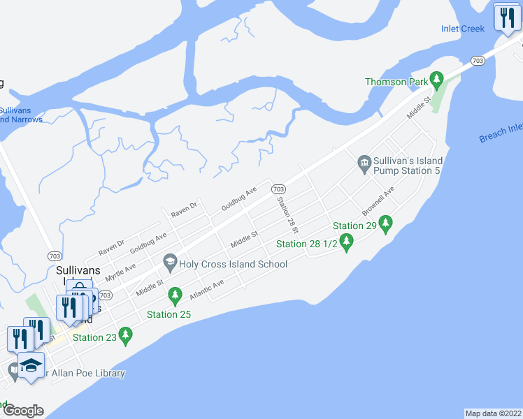 map of restaurants, bars, coffee shops, grocery stores, and more near 2714 Brooks Street in Sullivan's Island