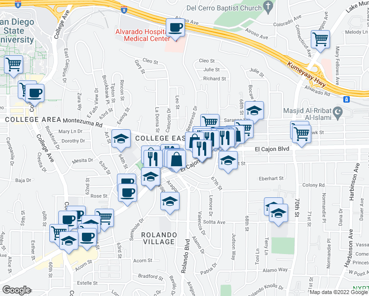 map of restaurants, bars, coffee shops, grocery stores, and more near 6621 Montezuma Road in San Diego