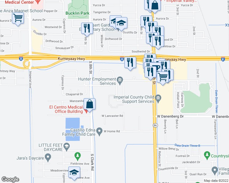 map of restaurants, bars, coffee shops, grocery stores, and more near 2600 Thomas Drive in El Centro