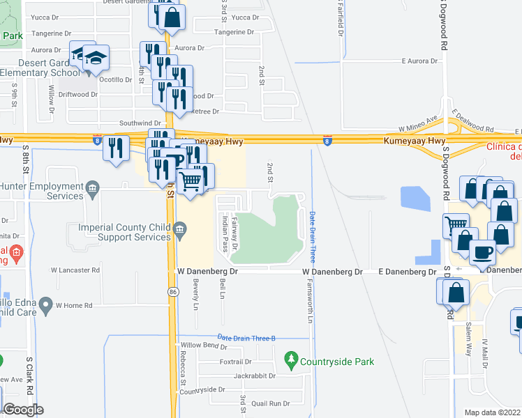 map of restaurants, bars, coffee shops, grocery stores, and more near 225 Wake Avenue in El Centro