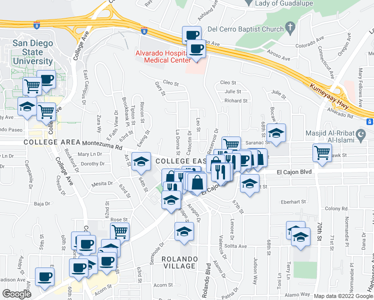 map of restaurants, bars, coffee shops, grocery stores, and more near 5050 Catoctin Drive in San Diego