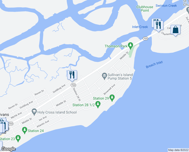 map of restaurants, bars, coffee shops, grocery stores, and more near 2911 Jasper Boulevard in Sullivan's Island
