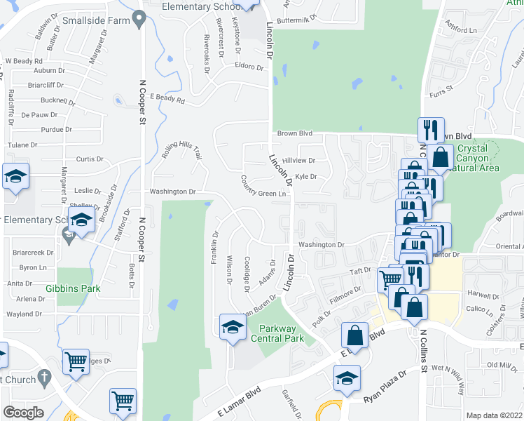map of restaurants, bars, coffee shops, grocery stores, and more near 511 Franklin Drive in Arlington