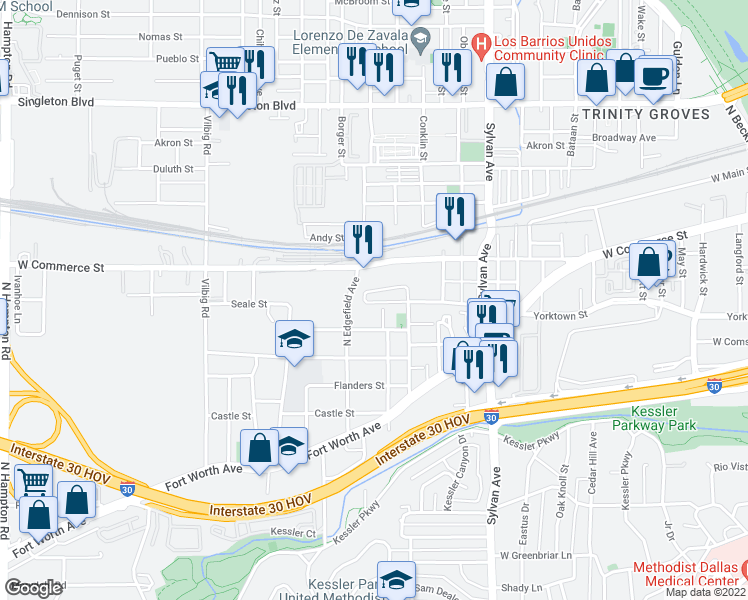 map of restaurants, bars, coffee shops, grocery stores, and more near 1233 Crownview Lane in Dallas