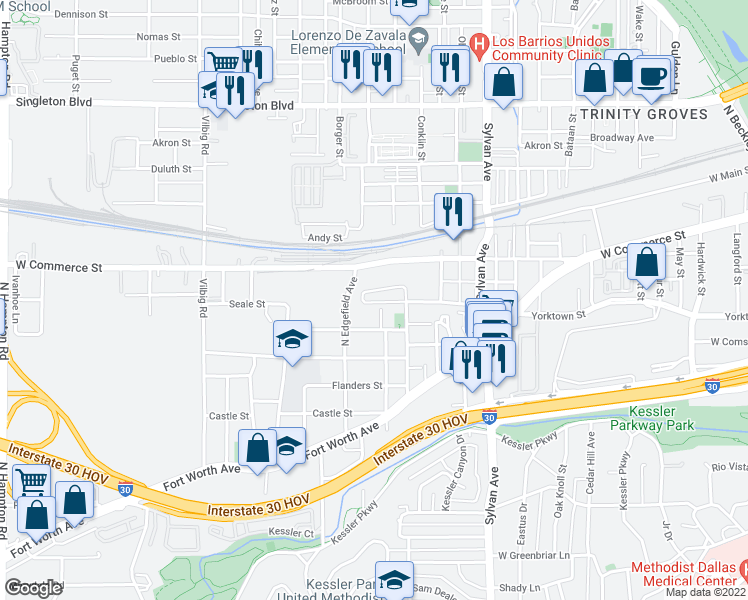 map of restaurants, bars, coffee shops, grocery stores, and more near 1225 Crownview Lane in Dallas