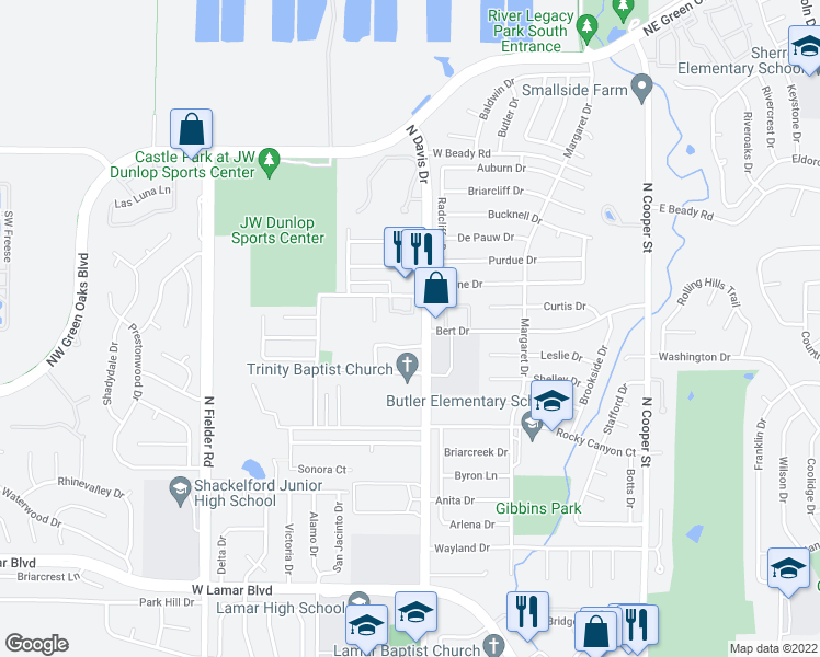 map of restaurants, bars, coffee shops, grocery stores, and more near 2400 North Davis Drive in Arlington