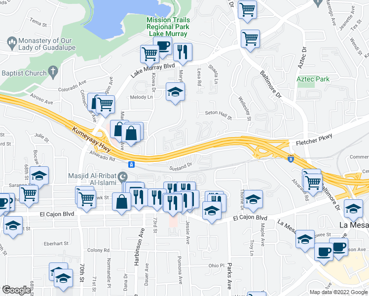 map of restaurants, bars, coffee shops, grocery stores, and more near 7367-7451 Parkway Drive in La Mesa