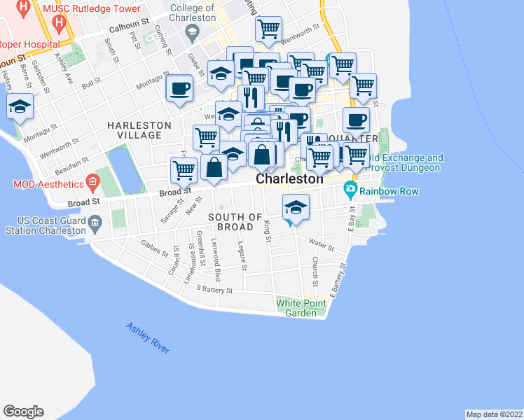 map of restaurants, bars, coffee shops, grocery stores, and more near 77 King Street in Charleston