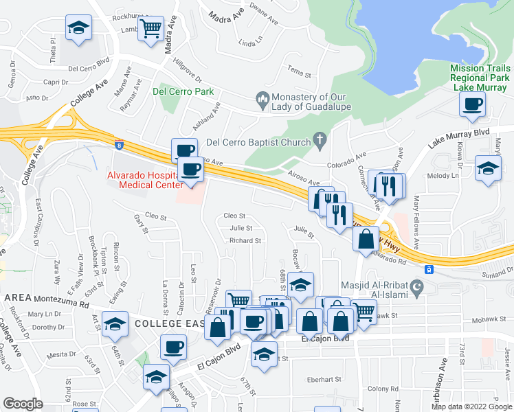 map of restaurants, bars, coffee shops, grocery stores, and more near 6775 Alvarado Road in San Diego