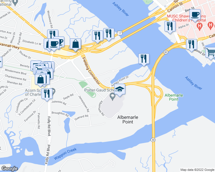 map of restaurants, bars, coffee shops, grocery stores, and more near 9 Mizzen Mast Drive in Charleston