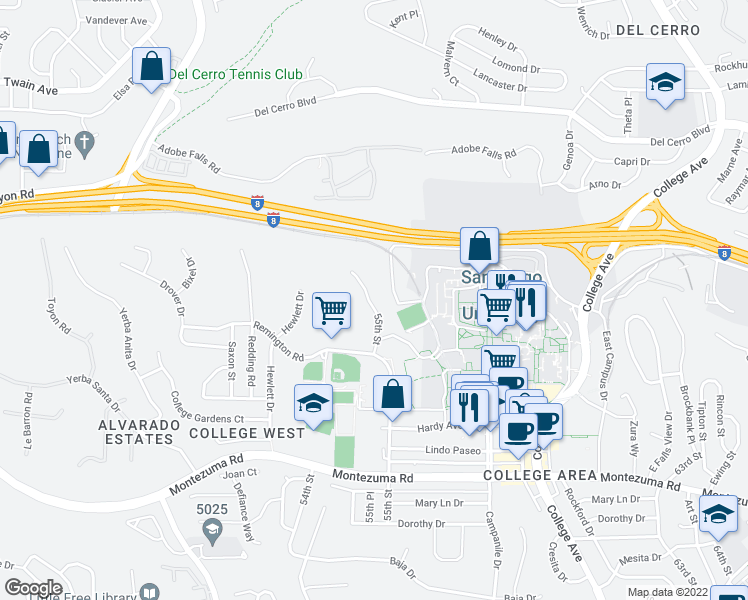 map of restaurants, bars, coffee shops, grocery stores, and more near 5445 55th Street in San Diego
