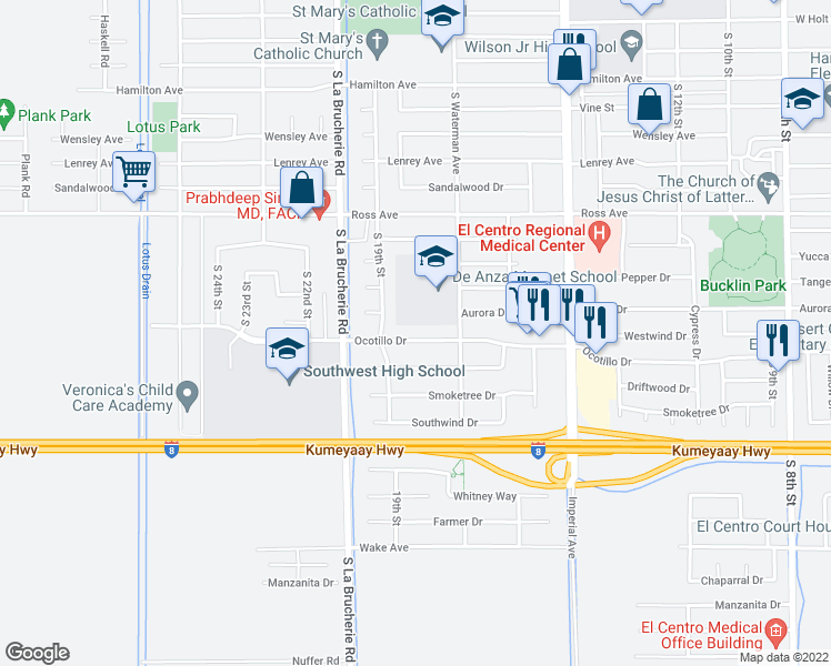 map of restaurants, bars, coffee shops, grocery stores, and more near 1800 Ocotillo Drive in El Centro