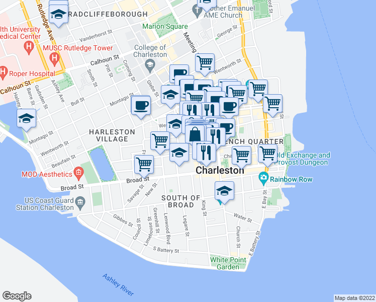 map of restaurants, bars, coffee shops, grocery stores, and more near 98 Queen Street in Charleston