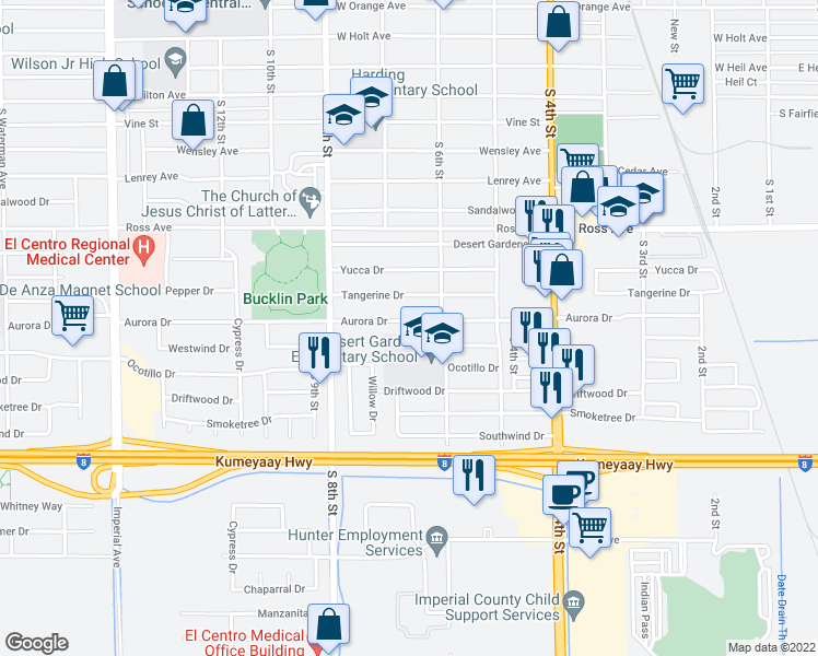 map of restaurants, bars, coffee shops, grocery stores, and more near 655 Aurora Drive in El Centro