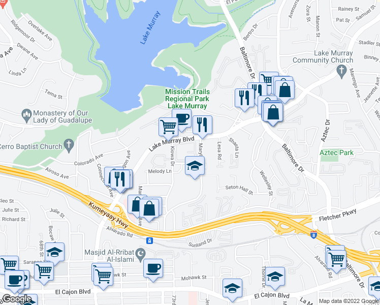 map of restaurants, bars, coffee shops, grocery stores, and more near 5437 Lake Murray Boulevard in La Mesa