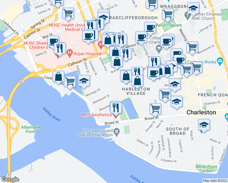 map of restaurants, bars, coffee shops, grocery stores, and more near 81 Ashley Avenue in Charleston