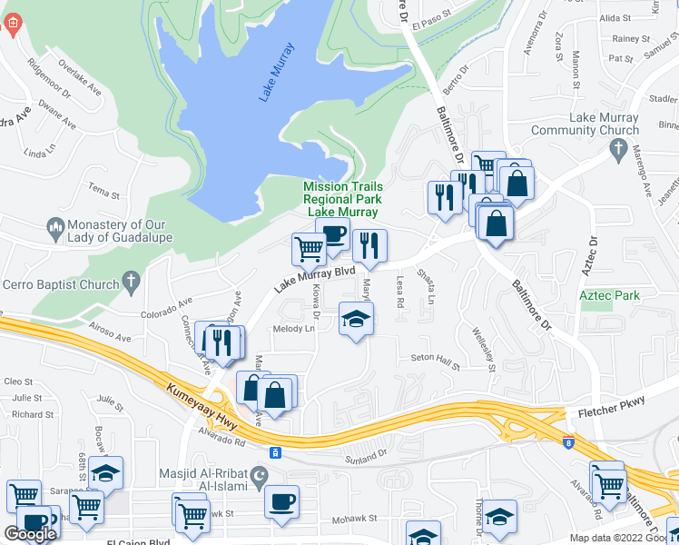 map of restaurants, bars, coffee shops, grocery stores, and more near 5415-5421 Lake Murray Boulevard in La Mesa
