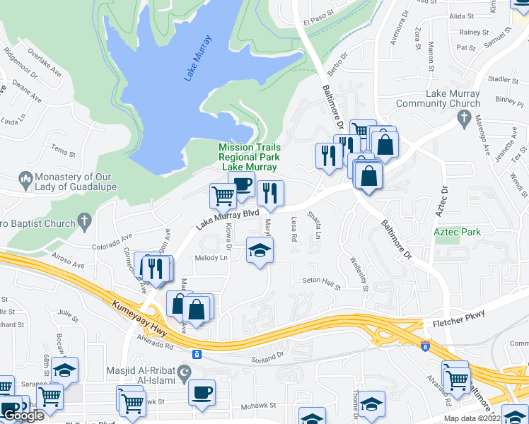 map of restaurants, bars, coffee shops, grocery stores, and more near 5427 Lake Murray Boulevard in La Mesa