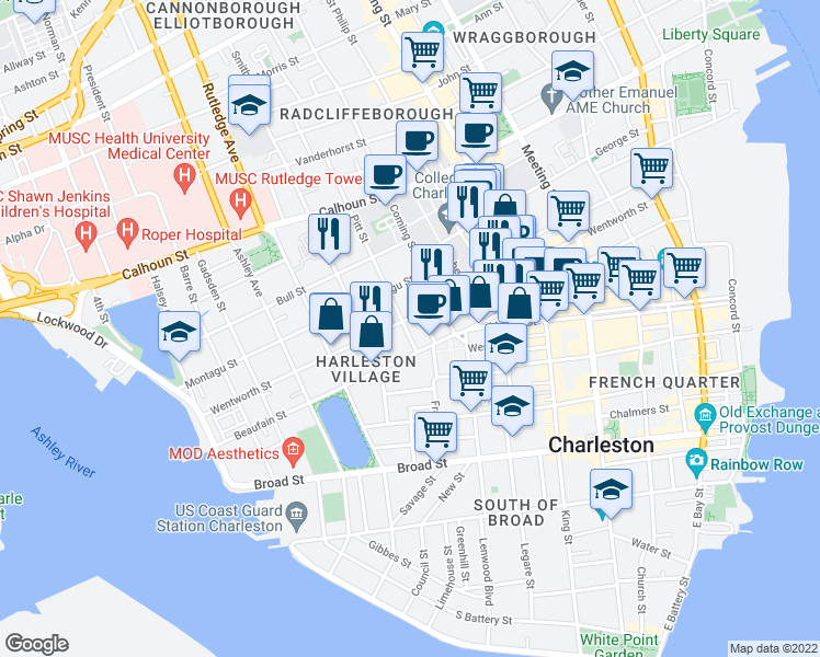 map of restaurants, bars, coffee shops, grocery stores, and more near 14 Pitt Street in Charleston