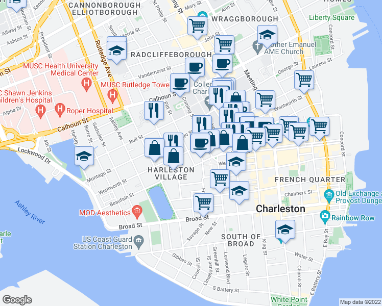 map of restaurants, bars, coffee shops, grocery stores, and more near 129 Wentworth Street in Charleston