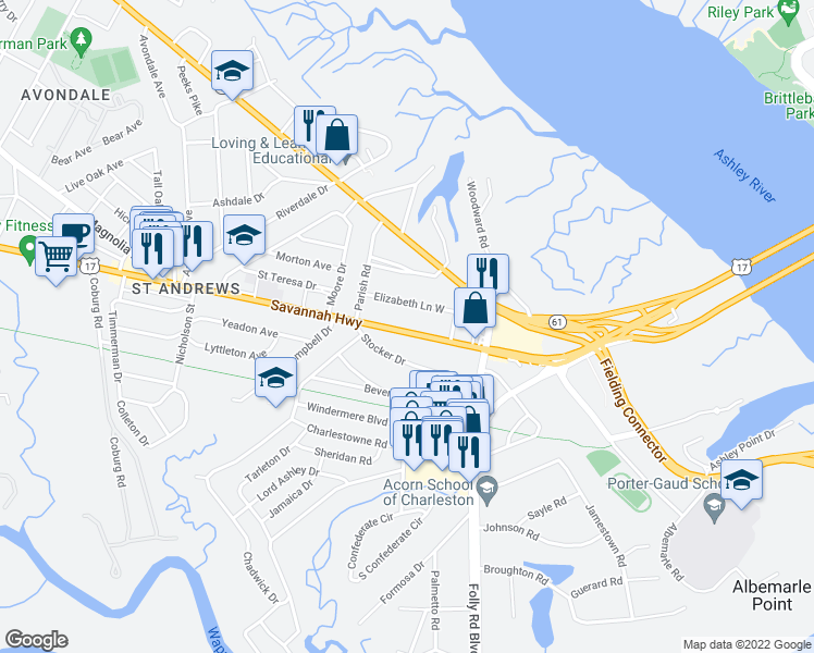 map of restaurants, bars, coffee shops, grocery stores, and more near 552 Savannah Highway in Charleston