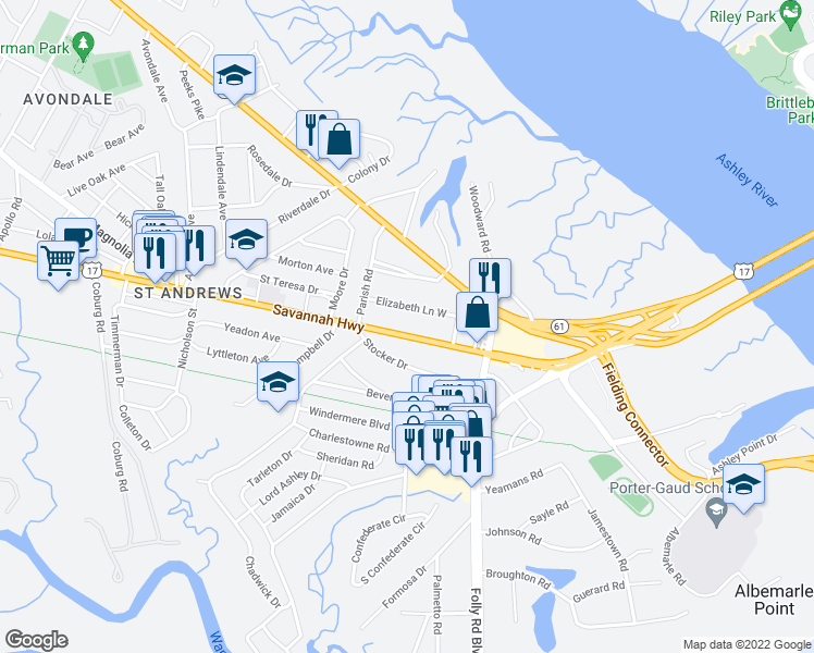 map of restaurants, bars, coffee shops, grocery stores, and more near 554 Savannah Highway in Charleston