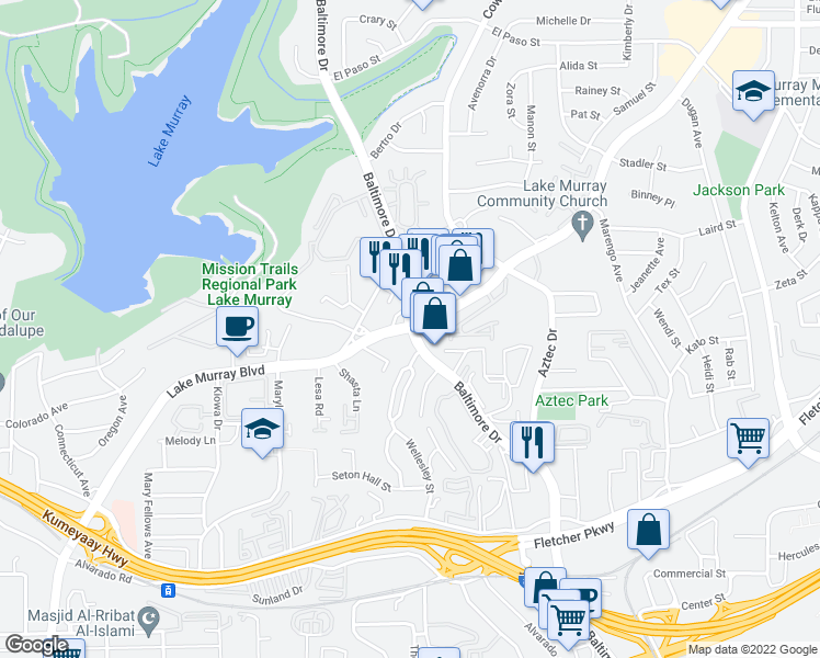 map of restaurants, bars, coffee shops, grocery stores, and more near Lake Murray Boulevard & Baltimore Drive in La Mesa