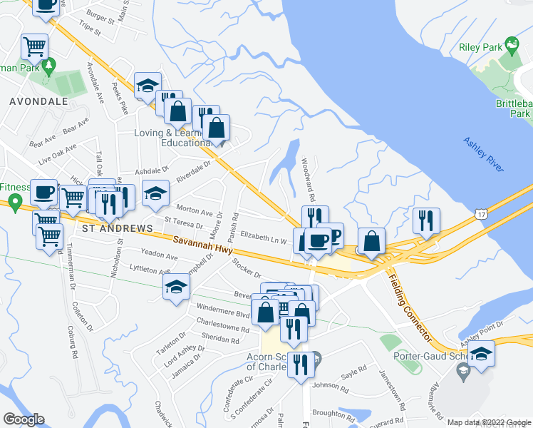 map of restaurants, bars, coffee shops, grocery stores, and more near 536 Godfrey Park Place in Charleston