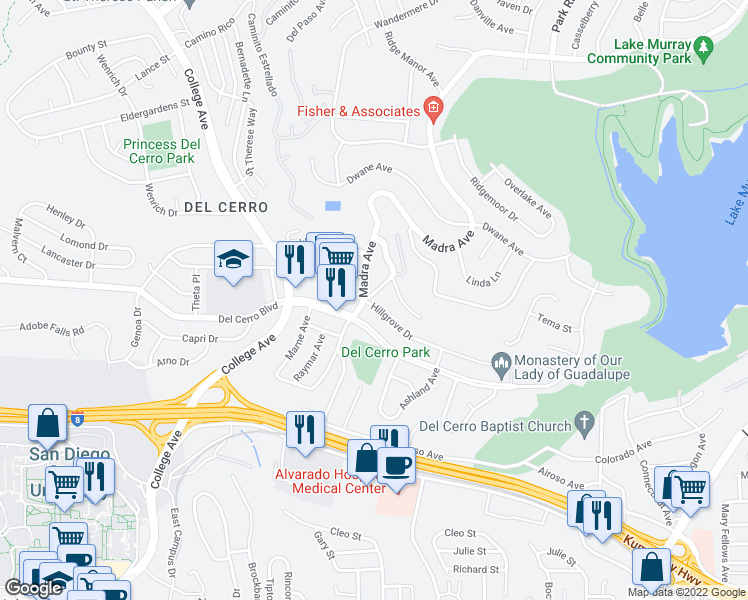 map of restaurants, bars, coffee shops, grocery stores, and more near 5751 Calvin Way in San Diego