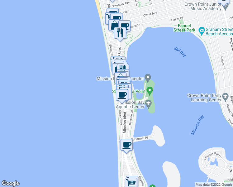 map of restaurants, bars, coffee shops, grocery stores, and more near 3755 Ocean Front Walk in San Diego