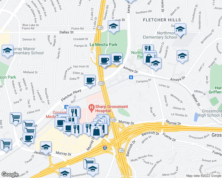 map of restaurants, bars, coffee shops, grocery stores, and more near 9000 Campina Drive in La Mesa