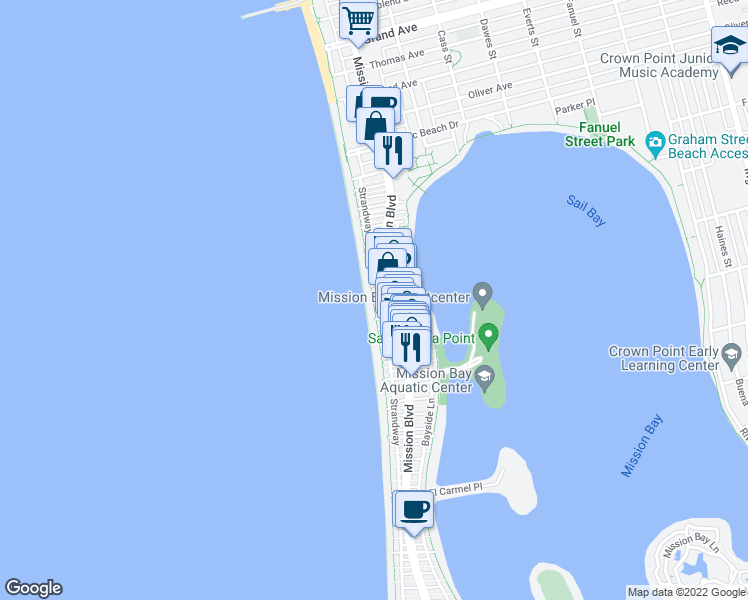 map of restaurants, bars, coffee shops, grocery stores, and more near 702 Seagirt Ct in San Diego