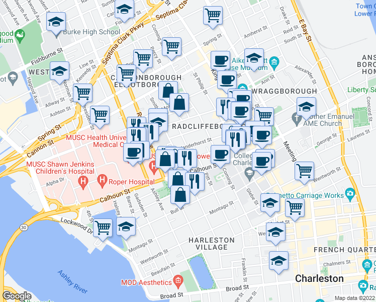 map of restaurants, bars, coffee shops, grocery stores, and more near 61 Vanderhorst Street in Charleston