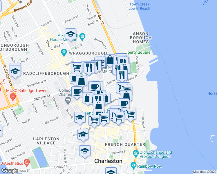map of restaurants, bars, coffee shops, grocery stores, and more near 58 Laurens Street in Charleston