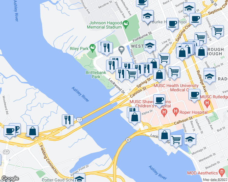 map of restaurants, bars, coffee shops, grocery stores, and more near 4005 Old Bridgeview Lane in Charleston