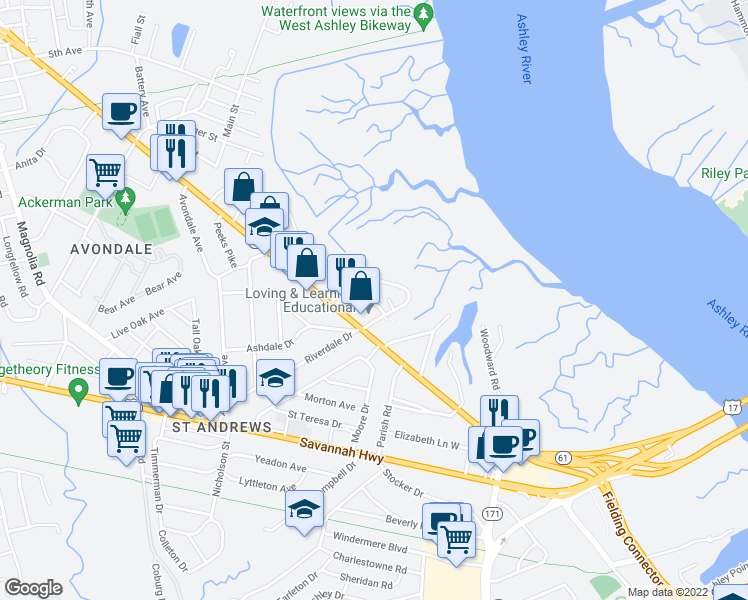 map of restaurants, bars, coffee shops, grocery stores, and more near in Charleston