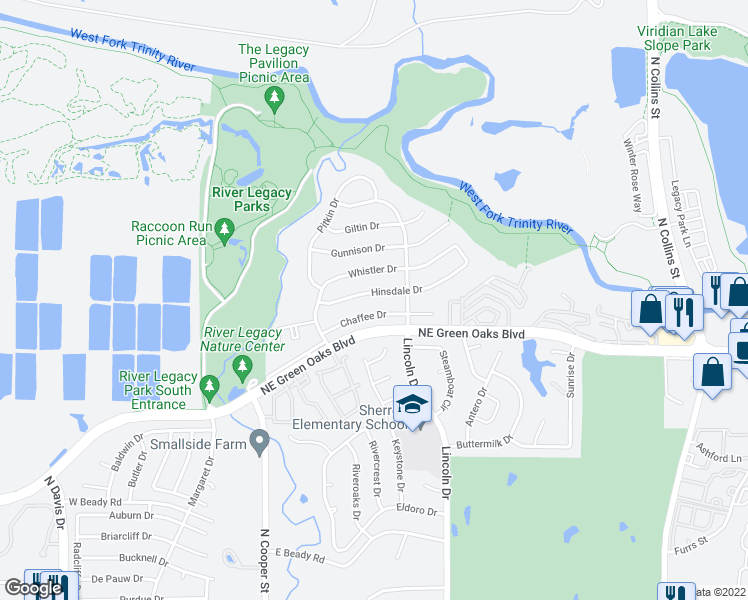 map of restaurants, bars, coffee shops, grocery stores, and more near 518 Hinsdale Drive in Arlington