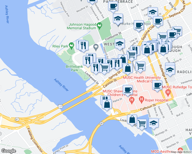 map of restaurants, bars, coffee shops, grocery stores, and more near 10 Westedge Street in Charleston