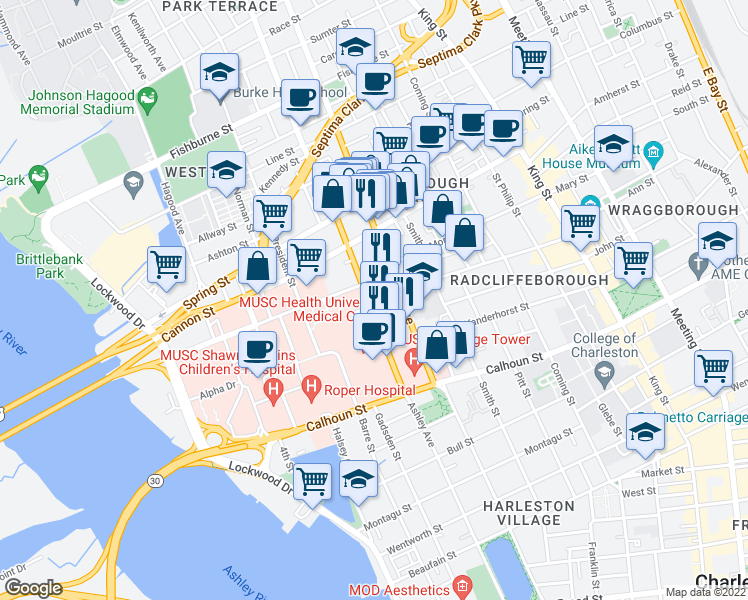 map of restaurants, bars, coffee shops, grocery stores, and more near 186 Ashley Avenue in Charleston