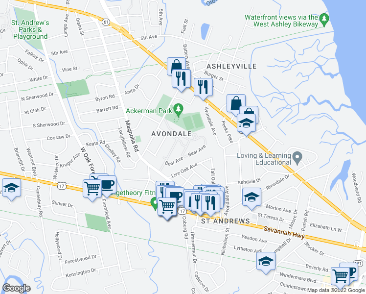 map of restaurants, bars, coffee shops, grocery stores, and more near 45 Sycamore Avenue in Charleston
