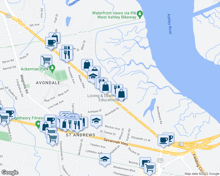 map of restaurants, bars, coffee shops, grocery stores, and more near 701 South Carolina 171 in Charleston